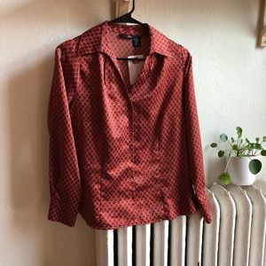 Vintage Red Silky Blouse